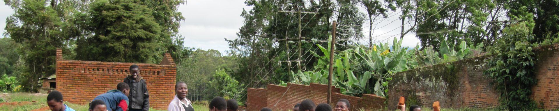 Vrouwen met bakstenen in Malawi
