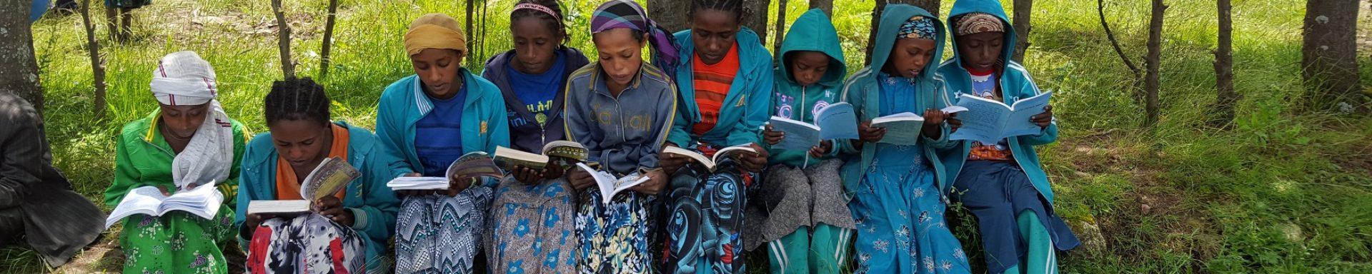 Negen kinderen zitten in het gras een boek te lezen in Ethiopië.