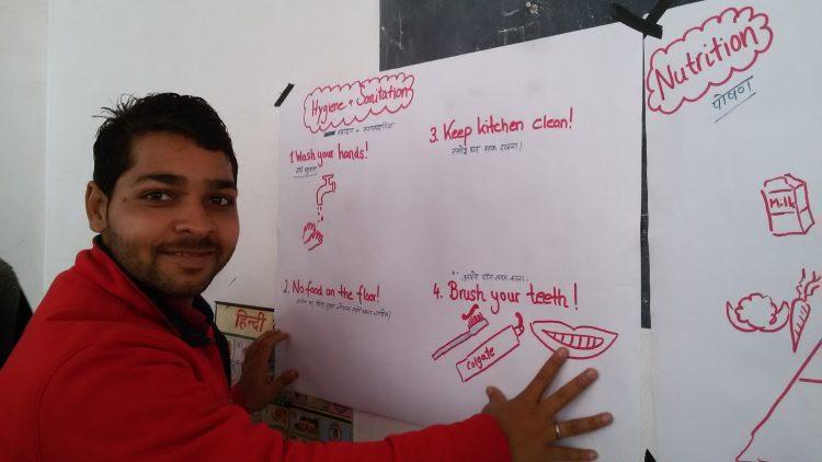 Informatie over gezonde voeding op een schoolbord.
