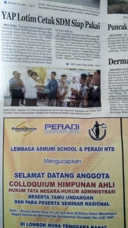 Een stuk in een lokale krant in Lombok.
