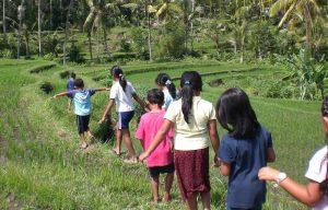 Kinderen met een beperking lopen door een rijstveld in Bali.
